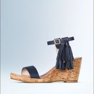 Boden Tassel wedge shoes